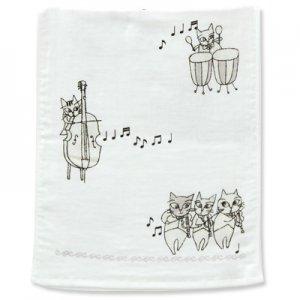 猫のオーケストラ フェイスタオル[グレー]