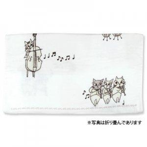 猫のオーケストラ バスタオル[グレー]
