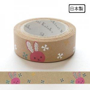 【ゆうパケット対応】クラフトデコレーションテープ-きらぴか-[pink rabbit]