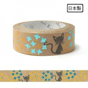 【ゆうパケット対応】クラフトデコレーションテープ-きらぴか-[Flower and cat]