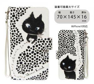 汎用手帳型スマートフォンカバーM[Monochrome cat 01]