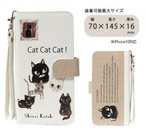 汎用手帳型スマートフォンカバーM[Cat cat cat]
