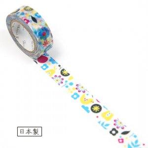 【ゆうパケット対応】マスキングテープ(15mm幅)[flowery bird]