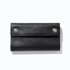 <img class='new_mark_img1' src='https://img.shop-pro.jp/img/new/icons50.gif' style='border:none;display:inline;margin:0px;padding:0px;width:auto;' />CALEE / Silver star concho flap leather long wallet