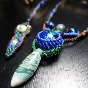夜光貝&ホタルガラスのネックレス