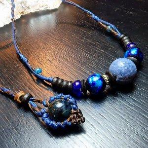 大粒青珊瑚&ホタルガラスネックレス