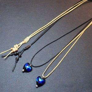 シンプルハートのホタルガラスネックレス