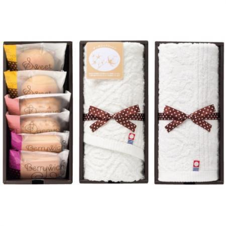 【名入れ】【5個以上から注文可】名入れ焼き菓子&今治オーガニックコットンタオル詰合せBOX AGM-25 [1]