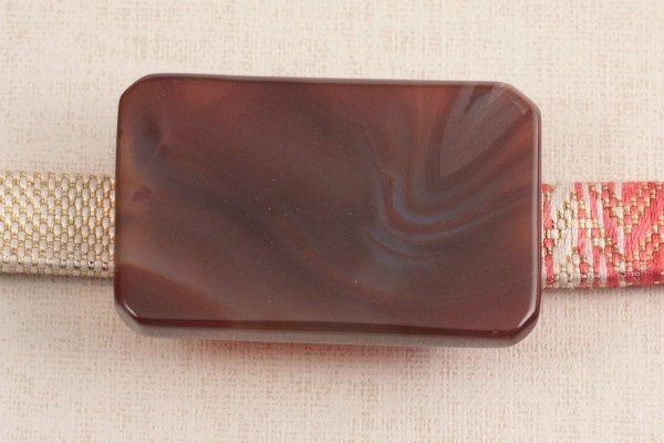 天然石帯留め 縞瑪瑙(長方形)