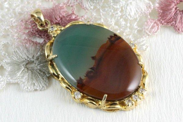 ペンダントトップ 水晶カット 六角形