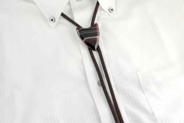 ループタイ 縞オニキス 矢じり型