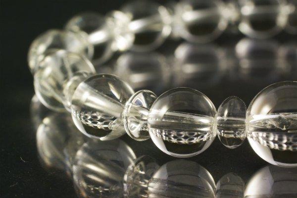 水晶8mm玉×水晶平玉ブレスレット