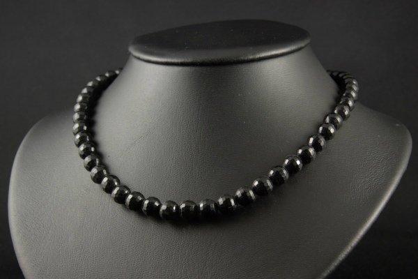 ブラックオニキス(ミラーカット)8mm ネックレス