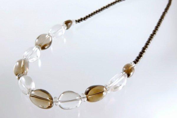 母の日 スモーキークォーツ×水晶(ナツメ型) ネックレス