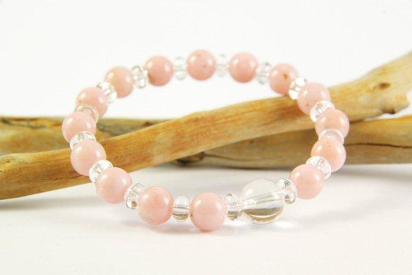 ピンクオパール8mm玉×水晶平玉ブレスレット