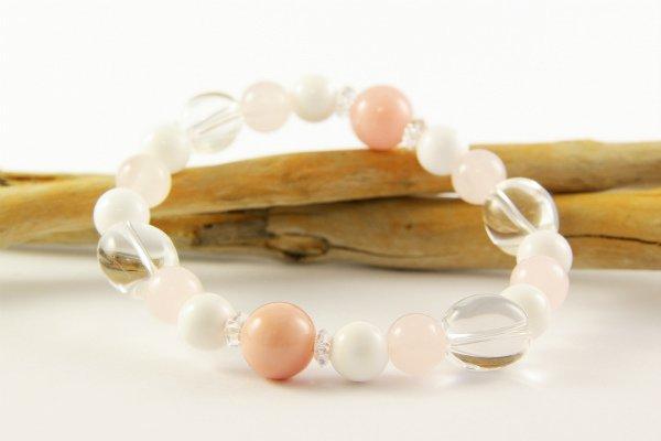 ピンクオパール&ホワイトオニキス ブレスレット