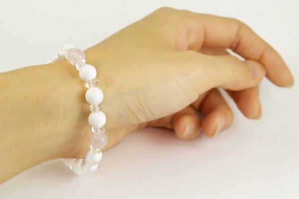 ホワイトオニキス&ローズクォーツ×水晶平玉 ブレスレット