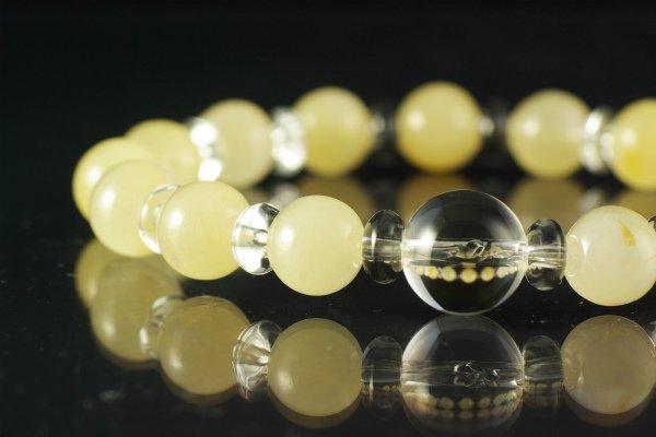 アラゴナイト8mm玉×水晶平玉ブレスレット