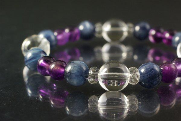 水晶&カイヤナイト&アメジスト ブレスレット