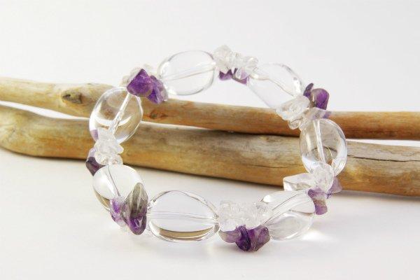 水晶ナツメ×水晶&アメジストさざれ石 ブレスレット