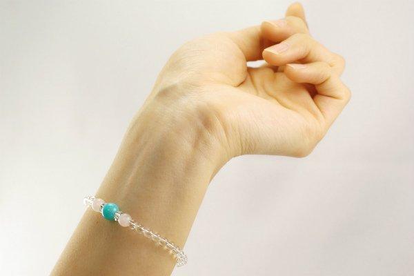 【ストレス解消】アマゾナイト&ローズクォーツ&水晶4mm プチブレスレット