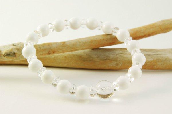 ホワイトオニキス8mm玉×水晶平玉ブレスレット