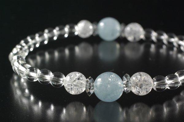 【3月誕生石】アクアマリン&クラック水晶&水晶 プチブレスレット