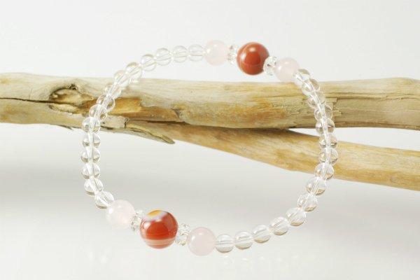 【8月誕生石】縞メノウ&ローズクォーツ&水晶 プチブレスレット