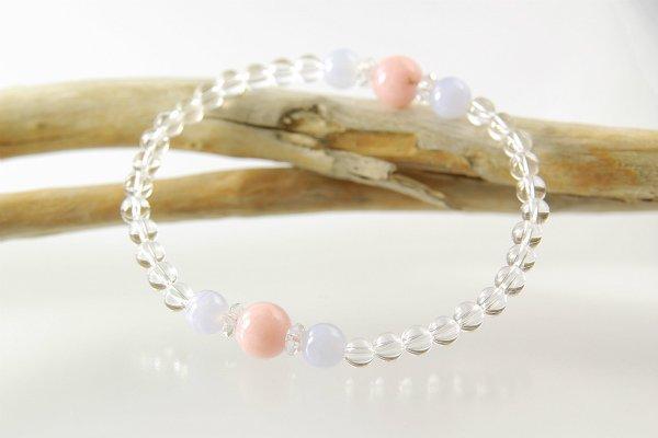 【10月誕生石】ピンクオパール&ブルーレース&水晶 プチブレスレット