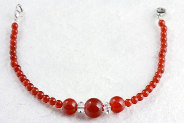 天然石羽織紐兼ブレスレット 赤瑪瑙(メノウ)
