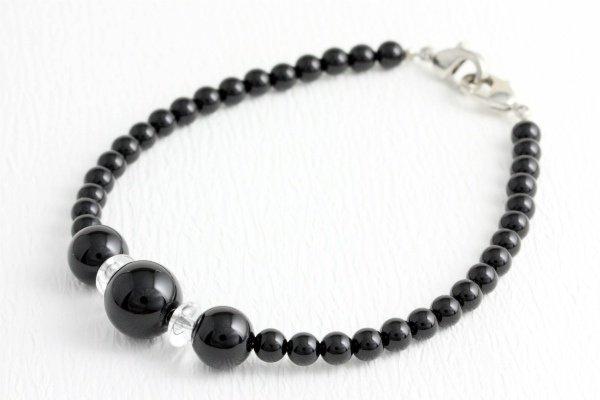 天然石羽織紐兼ブレスレット ブラックオニキス
