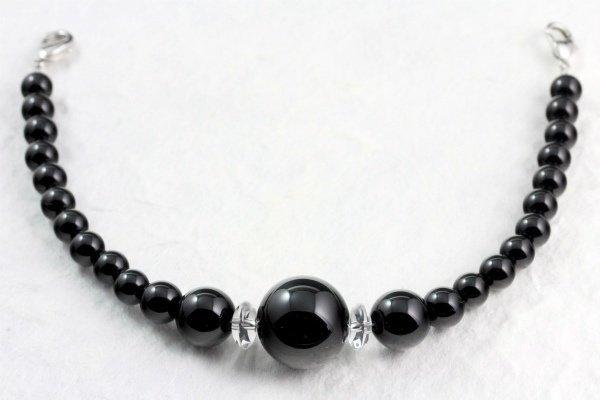 天然石羽織紐兼ブレスレット ブラックオニキス(大)