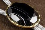 ループタイ 金色フレーム付き 縞オニキス(カット)