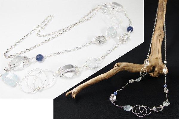 ワイヤーロングネックレス (水晶×ブルートパーズ)