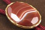 ループタイ 金色フレーム付き 縞瑪瑙(カット)