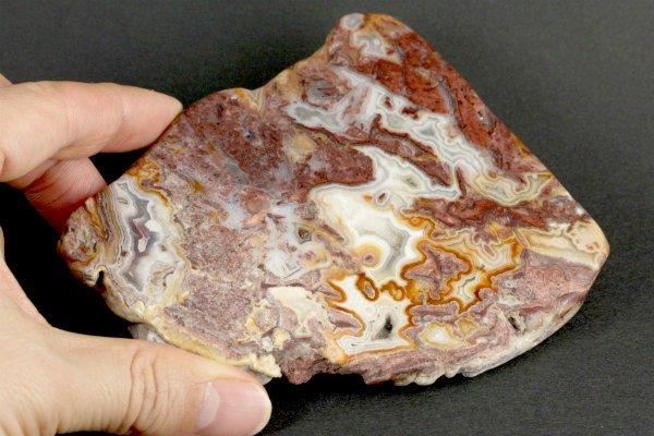 レース瑪瑙 原石 スライス板 磨き 56g
