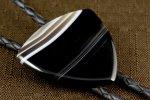 革紐 ループタイ 縞オニキス (ピック型)