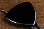 革紐 ループタイ ブラックオニキス (ピック型)