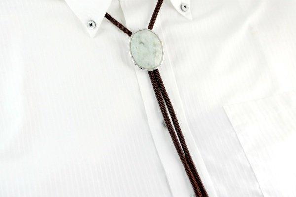 ループタイ フレーム付き 糸魚川産翡翠(カット)