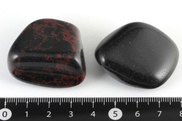 国産黒曜石 原石 磨き 2個セット43.5g / 和田峠産・十勝産