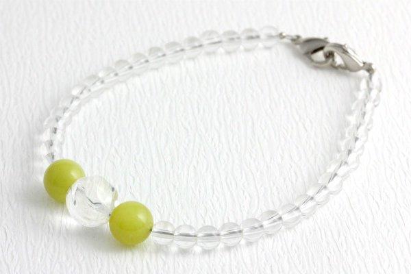 天然石羽織紐兼ブレスレット 水晶×オリーブジェイド