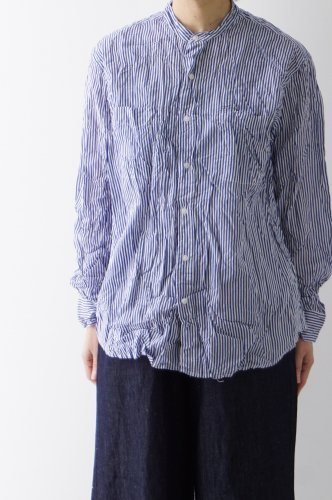 Vas-y lentement(ヴァジーラントマン)BANDED COLLAR L/SL OVERSIZED SHIRT
