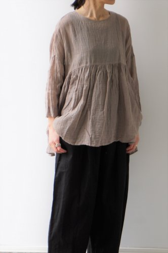 Gauze# (ガーゼ)LINEN SWITHING GATHER TUNIC