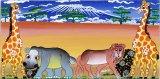 ティンガティンガ ルームプレート146 オレンジ『サバンナの動物たち〜青いキリマンジャロ』