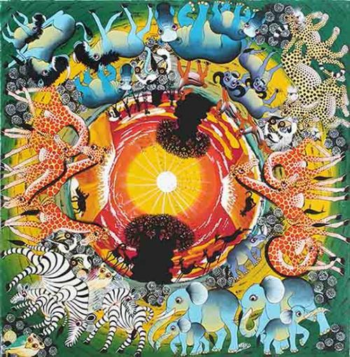 ティンガティンガ・アート 1554「地球へのオマージュ〜グリーン」by ムテコLサイズ