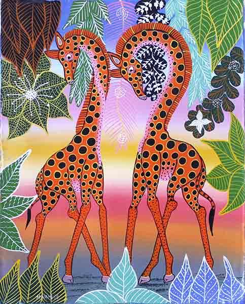 ティンガティンガ・アート 149「楽園の動物たち〜キリンのカップル〜レインボー〜」by ムワメディ