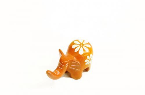 天然石 ソープストーンゾウの置物 (S) 183オレンジ
