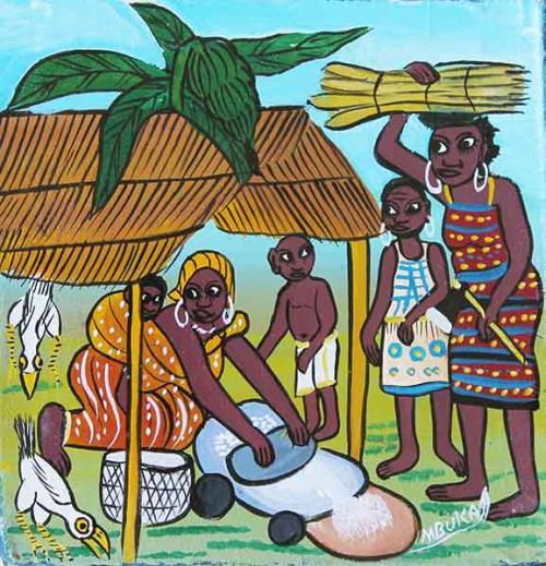 ティンガティンガ・アート 4798「美味しい食事を作る~アフリカの生活画」by ムブカSサイズ