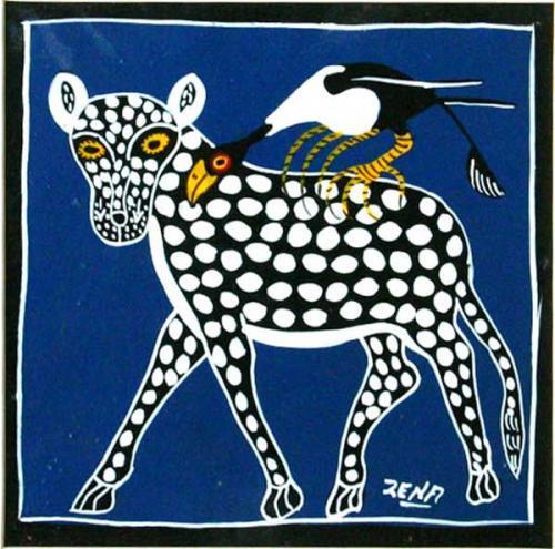 ティンガティンガ・アート 764「黒ヒョウ~ブルー」by ジナSサイズ