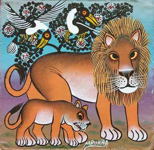 ティンガティンガ・アート 5270「花の樹に憩うライオンの親子~パープル」by ムブカSサイズ